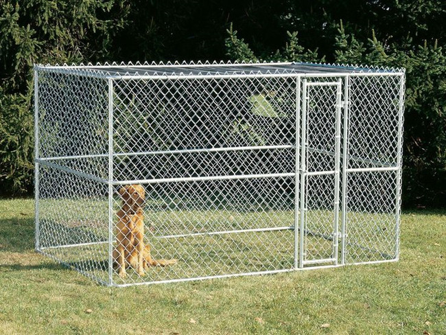galvanized chain link fence cage