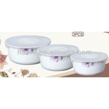 Home Supplies Stocks Vidrio de Opal Bowl Set 5.5 '' 6.5 '' 7.5 '' con cubierta de tapa de PP / Dubai Market Juego de Bowl de almacenamiento En la media