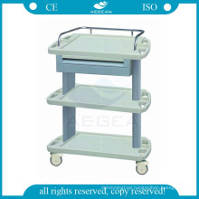 AG-LPT004A 3-layer mobile ABS pharmacy medical treatment trolley cart