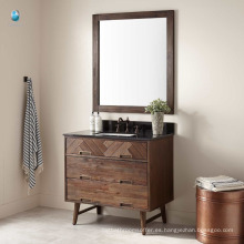 China muebles de madera a prueba de agua gabinete de piso de baño con fregadero bajo cubierta rectangular