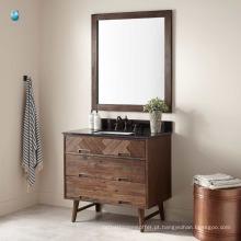 Mobiliário de China armário de piso de banheiro à prova d'água de madeira com pia retangular de undermount