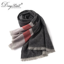 Woman New Designs Three Colors Combination Striped Muslim Scarf Hijab 100% Cashmere Scarf