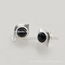 Großhandel 925 Sterling Silber Ohrringe Natürliche schwarze Onyx Edelstein Ohrstecker in Lünette Schmuck Hersteller