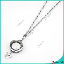 Prata redonda pingentes medalhões com colar de encantos do coração (fl16040833)