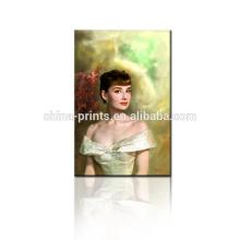 Audrey Hepburn lienzo de arte / Hermosa pintura de señora tela / pintura al óleo decorativa