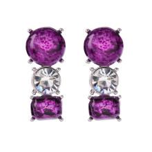 Moda 4 cores AAA Zircon Gemstone brinco, jóia de prata Handmade