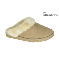 Women′s Microfiber Slippers with Fur Collar