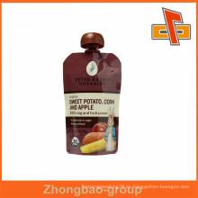 Plastic Laminated Material Friut jugo bolsa de canalón, bolsa de snack con PVC Spout