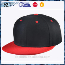 contrast color flat brim plain snapback cap with full back