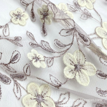 Pink bridal polyester knit 3D bicoloured flower embroidery lace net mesh fabric for wedding dress