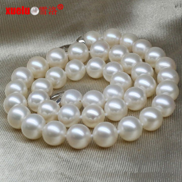 12-14mm grande natural redondo de pérolas de água doce colar jóias