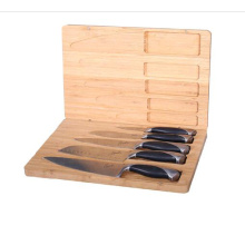 Bamboo knife storage box for 5 knives