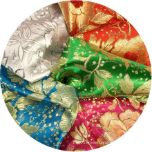 gorgeous 100% polyester double-sided silky metallic brocades for wedding event decoration table cover