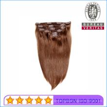 Silk Straight 18inch 100% Brazilian Remy Human Virgin Hair Extension Clip Hair