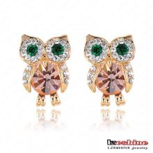 Boucles d'oreilles en cristal autrichien Cute Owl (ER0006-C)
