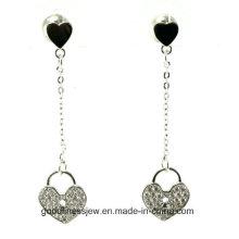 Forma del corazón y el nuevo Zircon de las mujeres calientes del diseño El pendiente largo de la borla de la gota de la plata cuelga los pendientes E6326 de la cadena