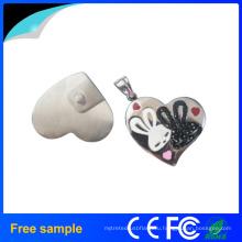 Пользовательские печать логотипа Heart Shape Gift Jewelry USB Flash Drive