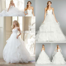 Charming Backless Tiered Organza Bridal Gown 2014 Ball Gown Wedding Dress With Sweetheart Neckline Custom Made NB0678