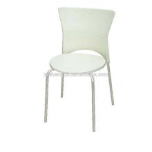 Cadeira de jantar de metal com tubo de aço, cadeira de restaurante branco