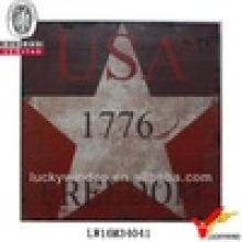 Schäbige schicke rote amerikanische Retro-Metall-Plakette