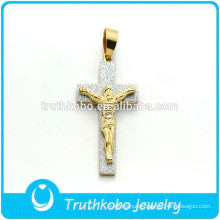 Christian Cross Jewelry Stainless Steel Cross Pendant JESUS Stiker Charm Pendant Catholic Gift Wholesale For Man