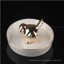 Lover Bird Wedding Ring Holder Décor Collier en céramique