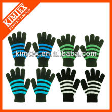 2014 Los guantes rayados mágicos de acrílico de encargo más nuevos del knit de la manera