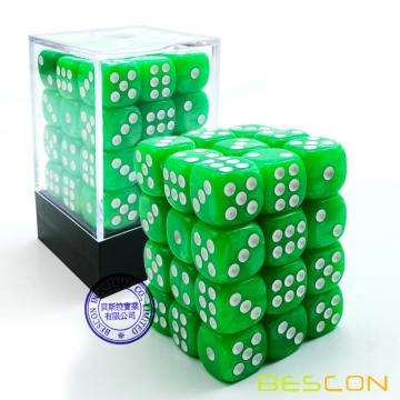 Bescon 12mm 6 caras Dice 36 en Brick Box, 12mm Six Sided Die (36) Bloque de dados, hierba de mármol