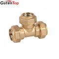 LB Guten top 3/4 *3/4*1/2 inch brass compression fitting brass tee/ brass fitting