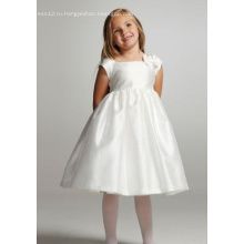 Бальное платье с квадратным вырезом и длиной до колен из тафты с бантом Платье для девочек-цветочниц
