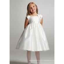 Бальное платье с квадратным вырезом длиной до колен из тафты с бантом и цветочным узором для девочек