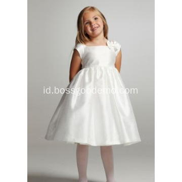 Ball Gown Square Leher Selutut Taffeta Ikatan Simpul Flower Girl Dress