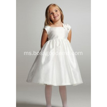 Ball Gown Square Leher Knee-length Taffeta Bowknot Flower Girl Dress