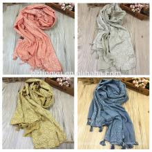New arrival cor turco borlas lenços e xales impressos hijab floral de algodão