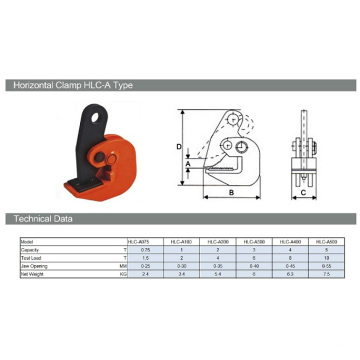 Alta qualidade 1t Horizontal Lifter Clamp