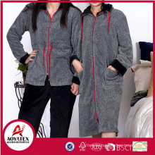 Popular melange yarn grey coral fleece solid zipper bathrobe