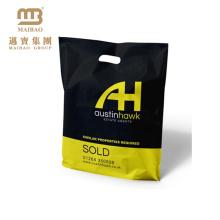 Le noir à la mode de conception adaptent le sachet en plastique de vente au détail de shopping de logo empaquetant pour l'habillement