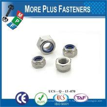 Fabriqué en Taiwan M6-1.0 DIN 985 Grade A4 en acier inoxydable Nylon Insert Lock Nut