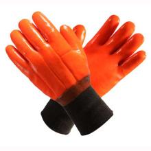 Naranja 2 capas guantes de PVC completamente sumergidos para el hogar