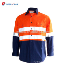 Hola Vis Camisas Safety Workwear 3M Tape Cotton Drill Amarillo / Naranja Noche Work Use Overcoat