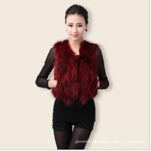 Dame kurzer reizvoller Fox-Pelz-Weste, Europa-populäre dünne Pelz-Weste, Frauen-Frühlings-Herbst-Outwear-Jacke, schwarzes rotes grünes blaues lila 1008