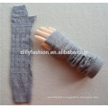 2016 new design knitted elbow length winter gray grey fingerless 100% cashmere gloves wholesale knitting pattern