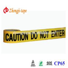 Profesional fabricante de película de color amarillo con negro palabras de impresión pe cinta de barrera