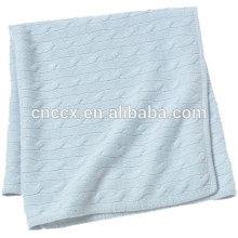 15JWS0712 100% cashmere cable knit cobertor de lã para bebê