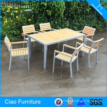 Modern Aluminum Frame And Teakwood Dining Room Set