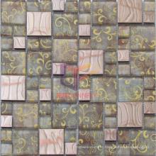 Elegant Style Flower Pattern Crystal Mix Metal Mosaic (CFM928)