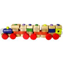 Tren de apilamiento de madera con bloques de colores (80098)