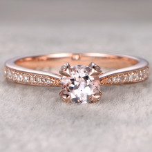 5mm Round Morganite and Diamond Engagement Ring 14k Rose gold 0.6ct Pink Gemstone Unique Claw Prong