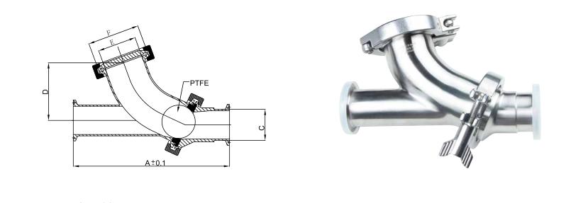 Sanitary Y-ball Check valve sizes
