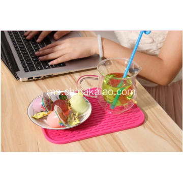 Peralatan Dapur Popular Pink Rectangle Silicone Draining Mats